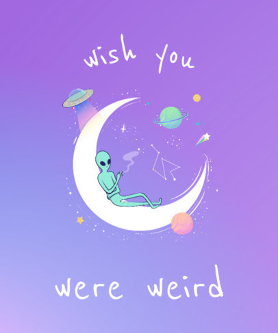Alien T-Shirt Design Template with Moon Graphic 419e