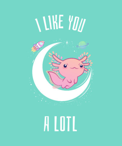 Galaxy T-Shirt Design Template with Axolotl Drawing 419f