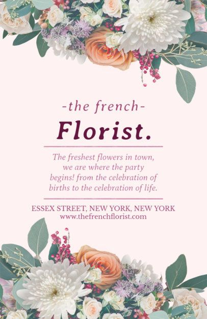 Online Flyer Maker for Florists with Pink Background #434a
