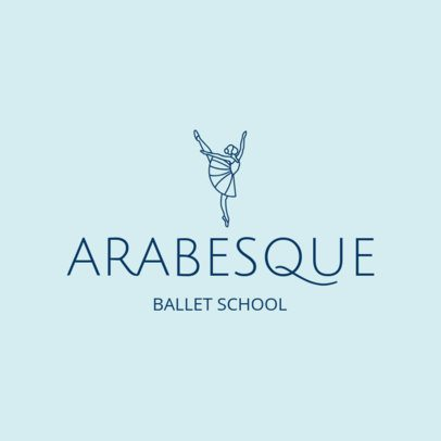 Online Logo Maker for Ballet Schools with Line Art 1300a