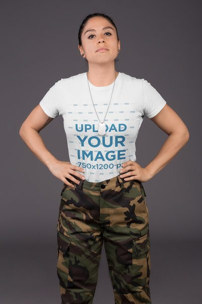 Mockup of a Woman Wearing a Tshirt and Military Clothing 21226