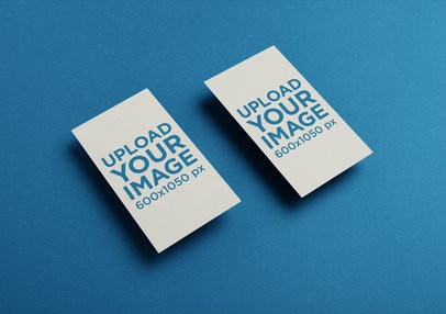 Best business card mockup templates placeit two vertical business cards mockup floating over a solid surface reheart Gallery