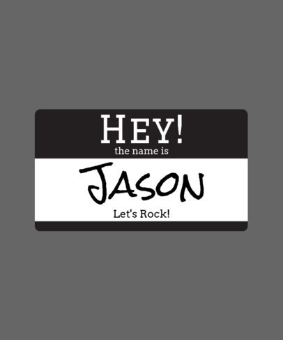 Let's Rock Name Tag T-shirt Design Template 387a