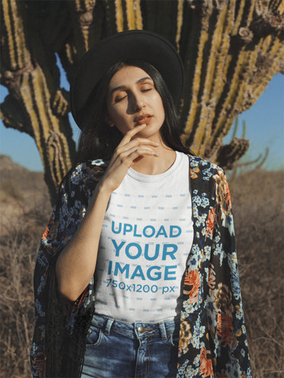 Tee Mockup Featuring a Hipster Girl Posing Against a Cactus Plant 18881
