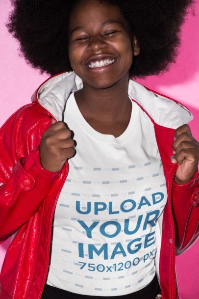 T-Shirt Mockup Featuring a Smiling Woman with Afro Hair Wearing a Red Raincoat 21710