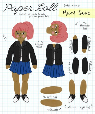 Adorable Paper Doll T-Shirt Design Template 482