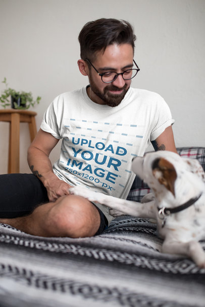 T-Shirt Mockup of a Man Smiling at His Dog 18027