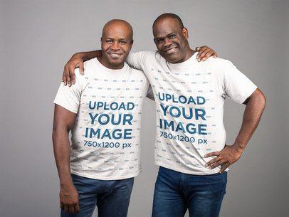 Tshirt Mockup of Two Senior Brothers Hugging at a Studio 21465