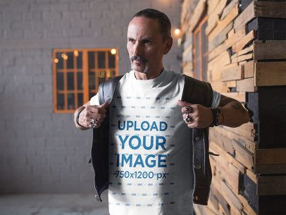 T-Shirt Mockup of a Biker Putting on his Leather Vest 20250