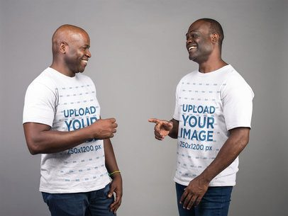 Mockup of Two Men Wearing T-Shirts and Smiling 21462