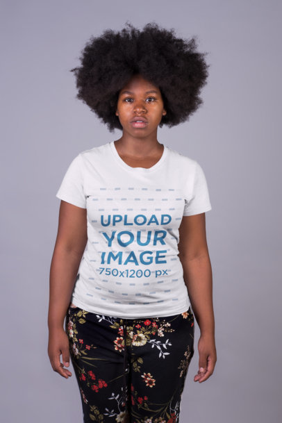 T-Shirt Mockup of a Serious Woman 21721