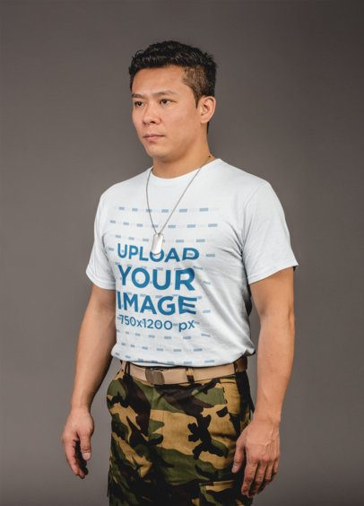 Mockup of a Veteran Soldier Wearing a Round Neck Tee 21256