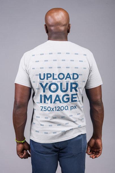 Back Shot Tshirt Mockup Featuring a Bald Man 21478