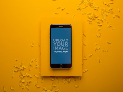 Space Gray iPhone Mockup Placed on an Amber Surface with Small Petals 22015
