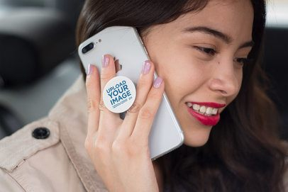 Phone Grip Mockup Featuring a Happy Woman 22078