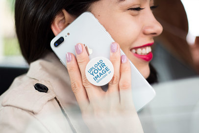 Phone Grip Mockup Featuring a Smiling Woman Making a Phone Call with an iPhone  22080