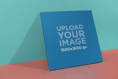 Vinyl Album Cover Mockup Lying Against a Two Color Background 22004