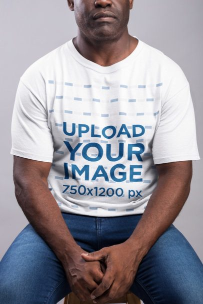 Mockup of a Strong Serious Man Wearing a T-Shirt  21485