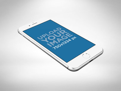 Mockup of a Silver iPhone 8 Floating Against a White Background 22267