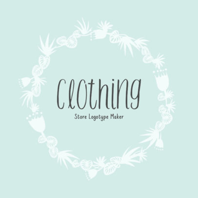 Clothing Store Logo with Vintage Plants Frame 1084f