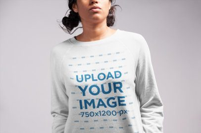 Sweatshirt Mockup Featuring a Girl with Two Messy Buns 21544
