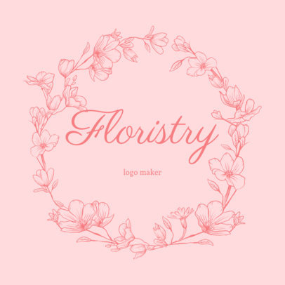 Florist Logo Creator with Flower Frame 1384e