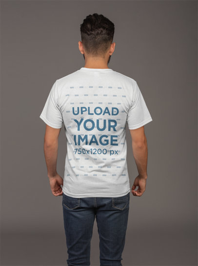 Back Shot T-Shirt Mockup of a Man with a Dark Jeans 21104