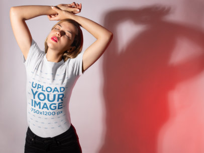 T-Shirt Mockup of a Woman in Ambient Lighting 18595