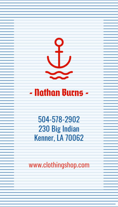 Nautical Clothing Brand Business Card Template 553a--1762
