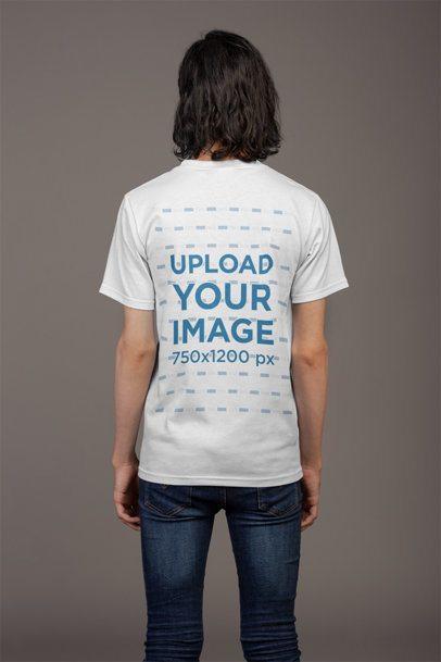 Back Shot T-Shirt Mockup of a Man Wearing Dark Skinny Jeans 21147