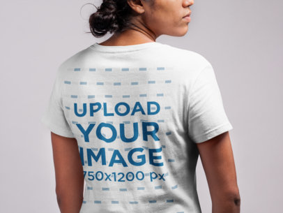 Back View T Shirt Mockup of a Girl with a Low Messy Bun 21541