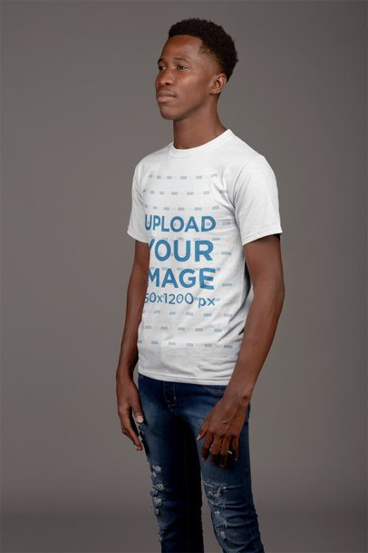 T-Shirt Mockup of a Straight-Faced Man 21157