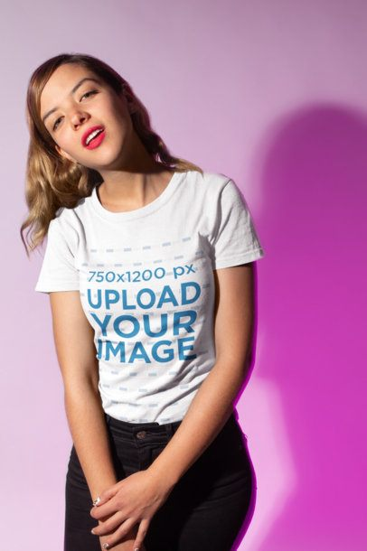 Mockup of a Woman Wearing a T-Shirt and Flirtatiously Smiling 18580