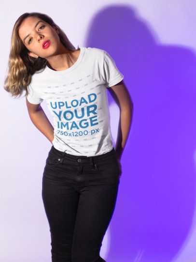 T-Shirt Mockup Featuring a Woman Wearing Dark Jeans 18603