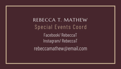 Business Card Maker for Special Events Planner 567c