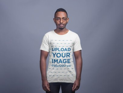 T-Shirt Mockup of a Man With Both of His Ears Pierced 21048