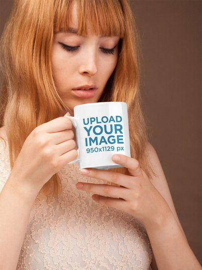 Coffee Mug Mockup Featuring a Cute Girl with Strawberry Blonde Hair 22380