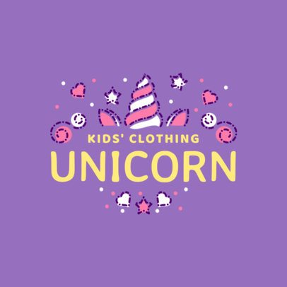Kids' Clothing Brand Logo with Unicorn Graphics 1322e