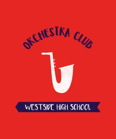 High School Orchestra Club T-Shirt Design Maker with a Sax Graphic 484c