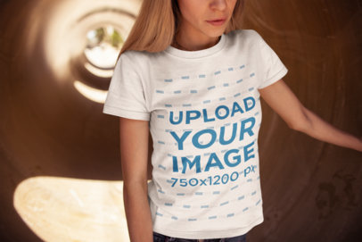 Mockup of a T-Shirt Worn by a Blonde Woman 20240