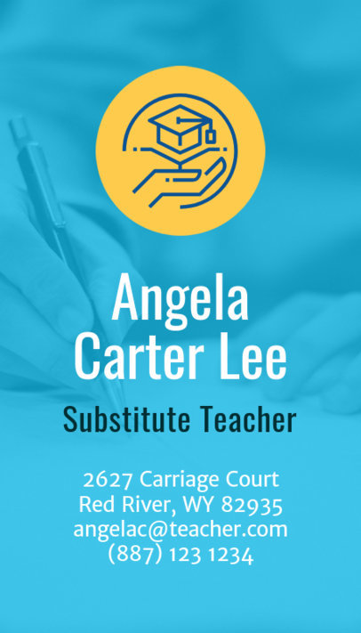 Vertical Business Card Maker for Substitute Teachers 573a