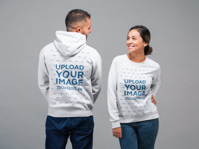 Back and Front View Sweatshirt and Hoodie Mockup of a Woman Facing Frontwards and a Man Backwards 22355