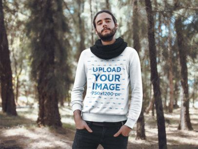 Sweatshirt Mockup Featuring a Fashionable Man in a Forest 18094