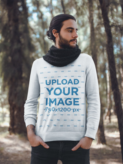Mockup of a Fashionable Man Wearing a Sweater in the Woods 18093