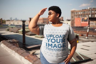 Plus Size Tee Mockup Featuring a Woman Shielding Her Eyes From The Sun 22577