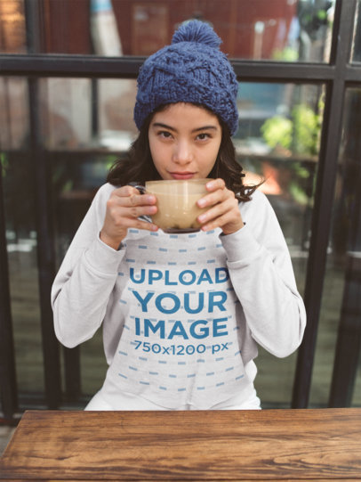 Crewneck Sweatshirt Mockup of a Girl Having a Latte 18145