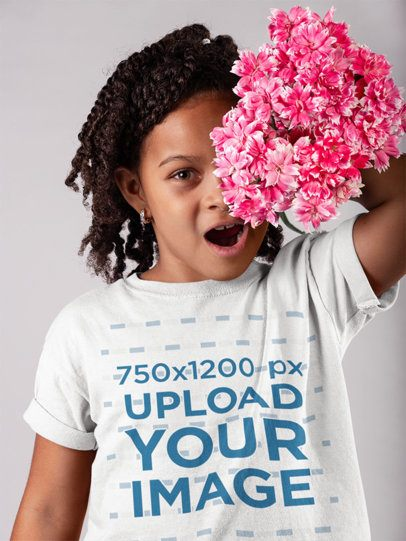 Tshirt Mockup of a Girl Holding Flowers Against her Face 22070
