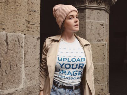 Round Neck T-Shirt Mockup of a Girl Outside a Stone Church 22654
