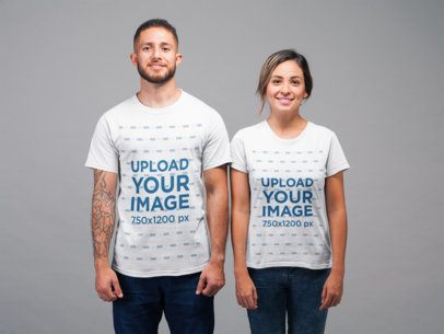 Mockup of a Man and a Woman Wearing T-Shirts and Smiling in a Studio 22345