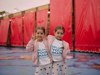 Mockup of Twin Sisters Wearing T-Shirts Posing 22524